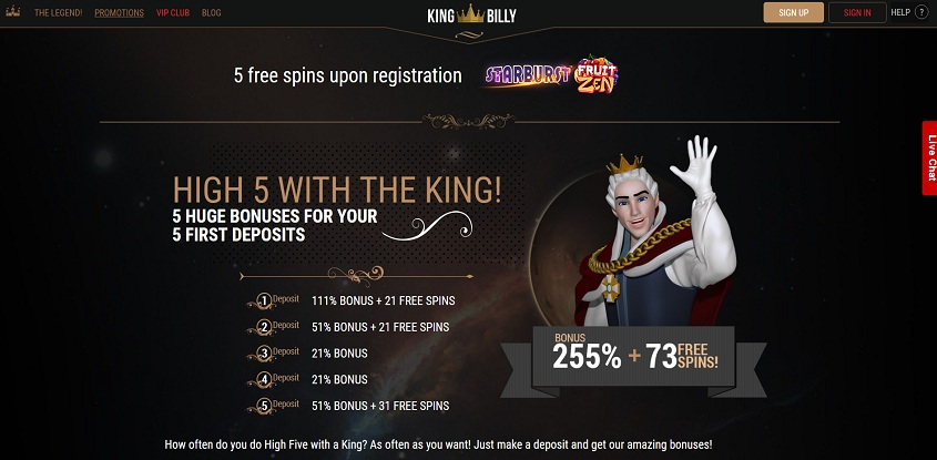 King Billy online casino