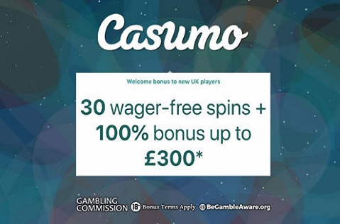 Casumo Casino: Up to £300 and 30 Spins